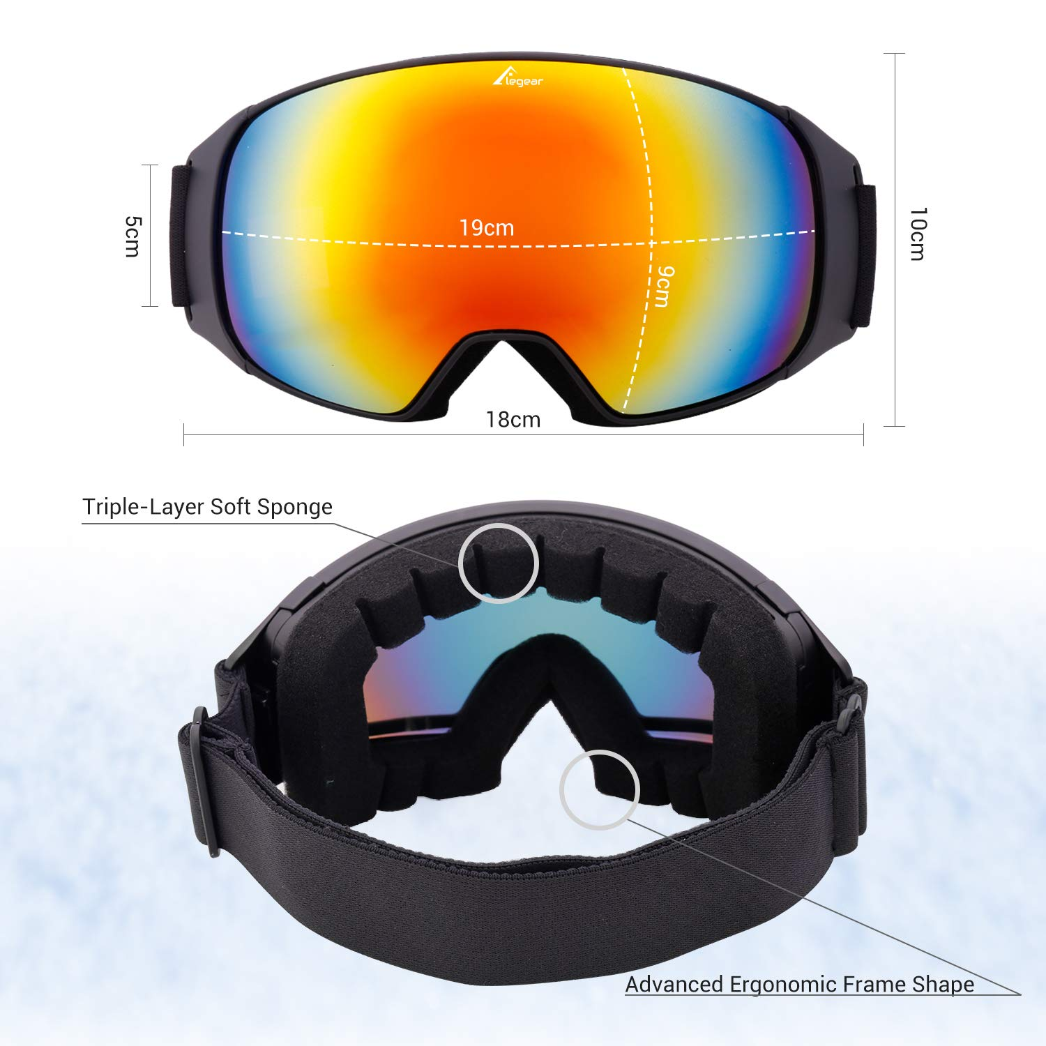 Elegear Ski Goggles, Snowboard Goggles Anti-Glare Anti-Fog Waterproof 100% UV Protection with Double-Layer Spherical Detachable Lenses, Helmet Compatible Snow Goggles for Youth, Men, Women