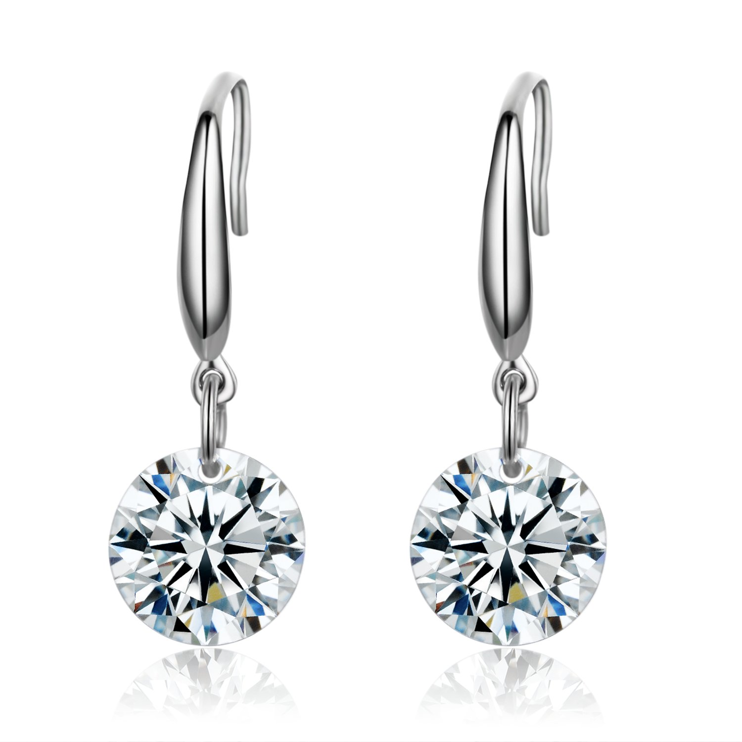 6bb85ae4a Amazon.com: SBLING Platinum-Plated Sterling Silver Drop Earrings Made with  Swarovski Crystals (4 cttw): Jewelry