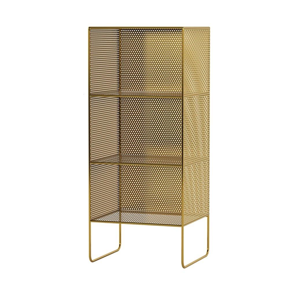 gold 353084cm Rack Wrought Iron Multi-Layer Storage Shelf Floor Bedroom Bedside Magazine Shelf (color   gold, Size   35  30  64cm)