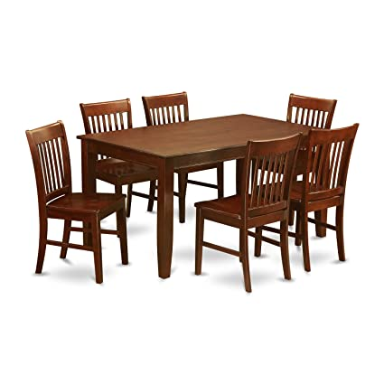 7 piece dining table set formal dining room east west furniture duno7mahw 7piece dining table set amazoncom