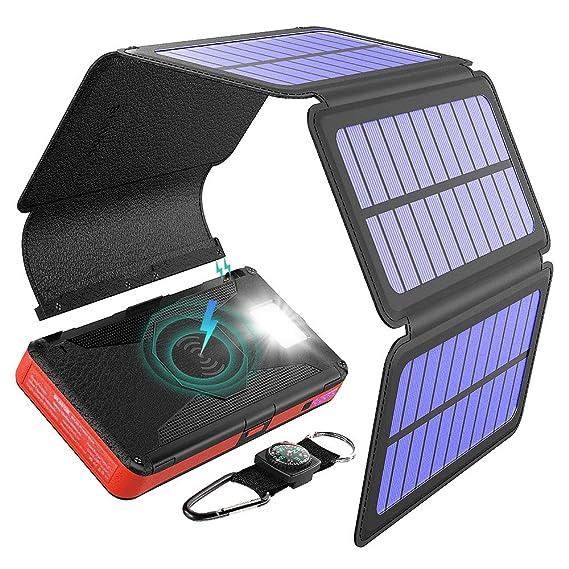 Amazon.com: BLAVOR Cargador Solar Cinco Paneles Desmontable ...