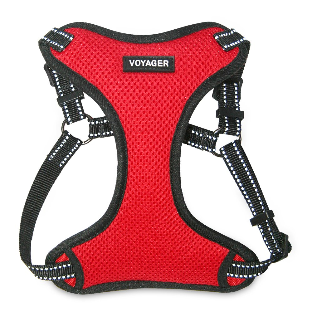 Best Pet Supplies Voyager - Fully Adjustable Step-In Mesh Harness with Reflective 3M Piping (Red, Small)