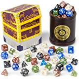 Wiz Dice Cup of Plenty: 5 Sets of 7 Premium Pearlized Polyhedral Role Playing Gaming Dice for Tabletop RPGs with Brown Bicast Leather Dice Cup