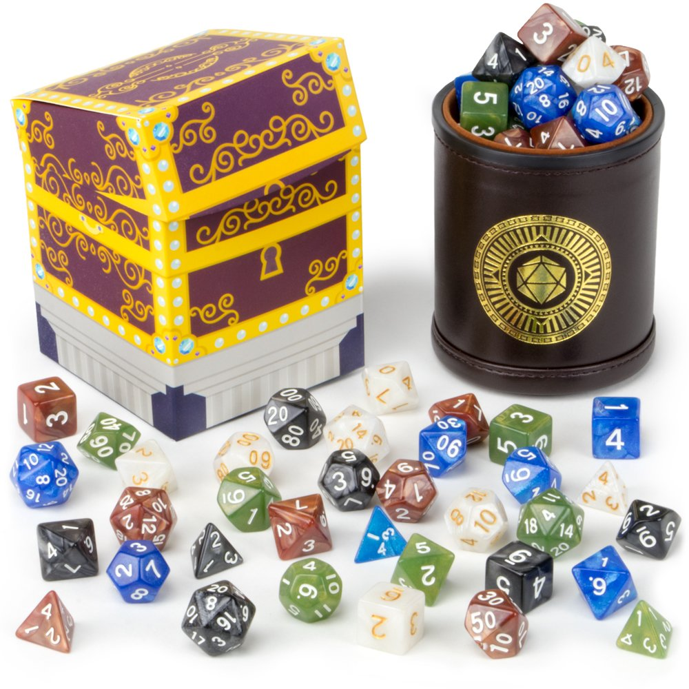 Cup of Plenty: 5 Sets of 7 Premium Pearlized Polyhedral Role Playing Gaming Dice for Tabletop RPGs with Brown Bicast Leather Dice Cup by Wiz Dice