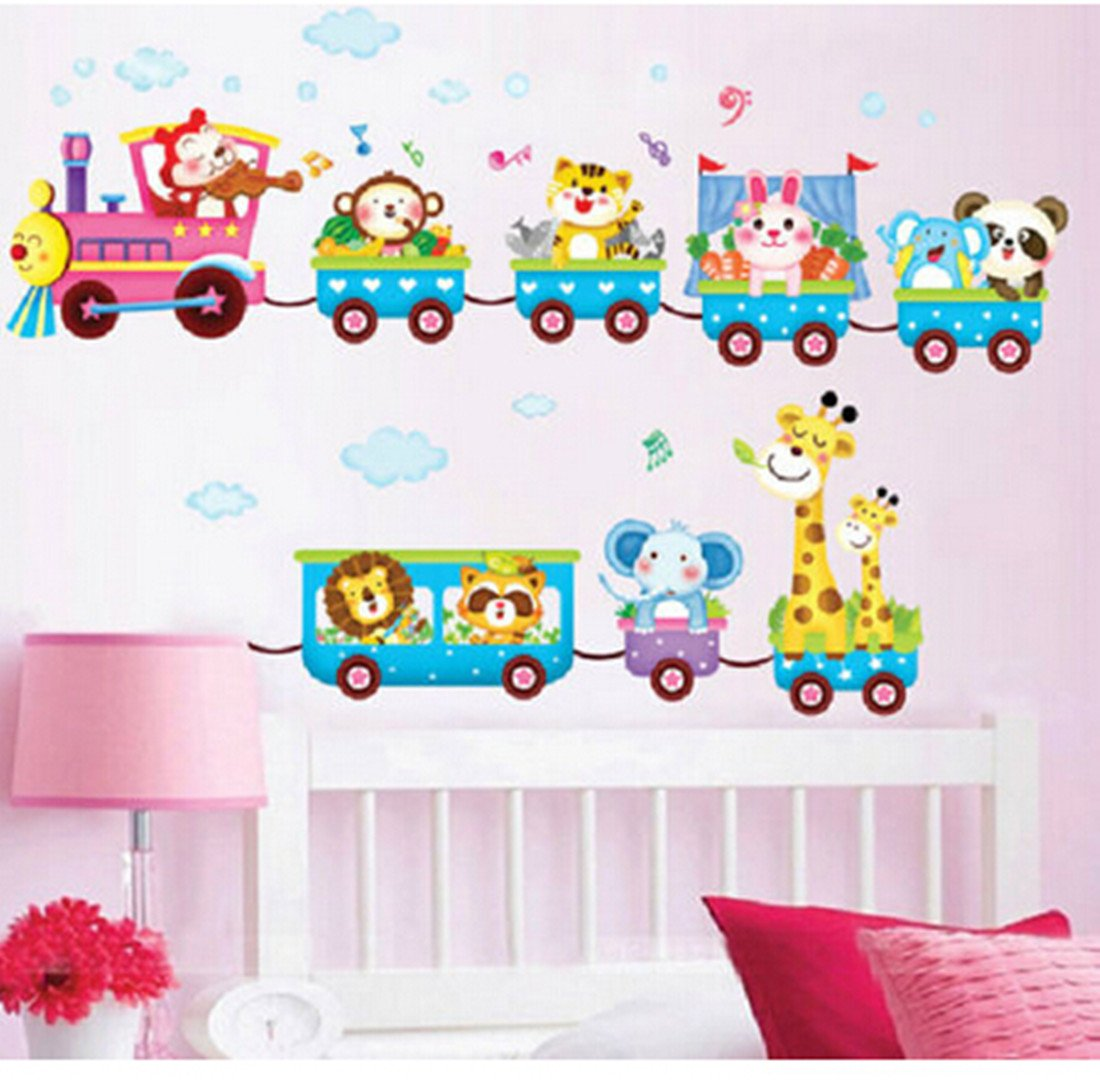 Amazon.com: Baby Kids Safari Animals Train Wall Stickers Nursery Decor Art  Mural Removable By LolliLook: Home U0026 Kitchen Part 89