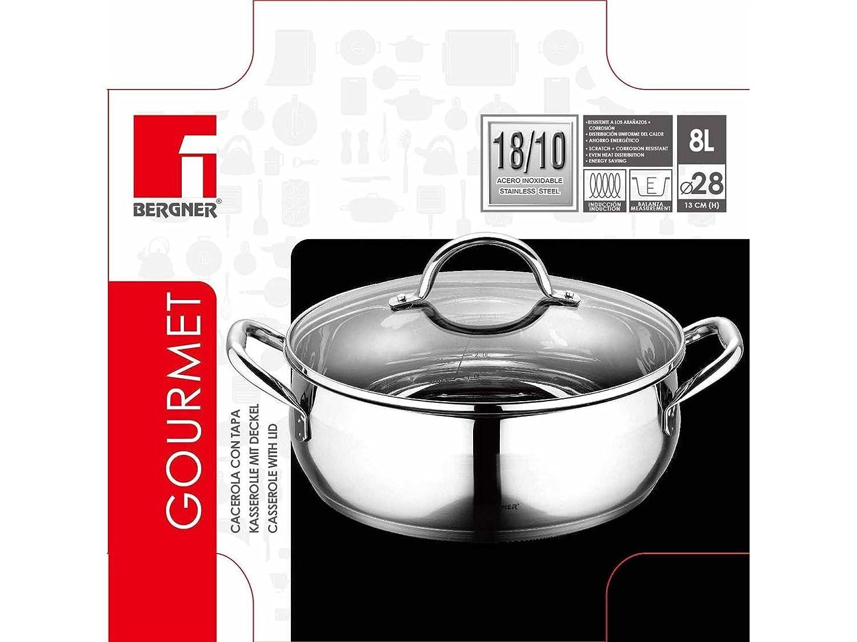 Bergner Gourmet 28 cm Cacerola, Acero Inoxidable 18/10, 304 S/S