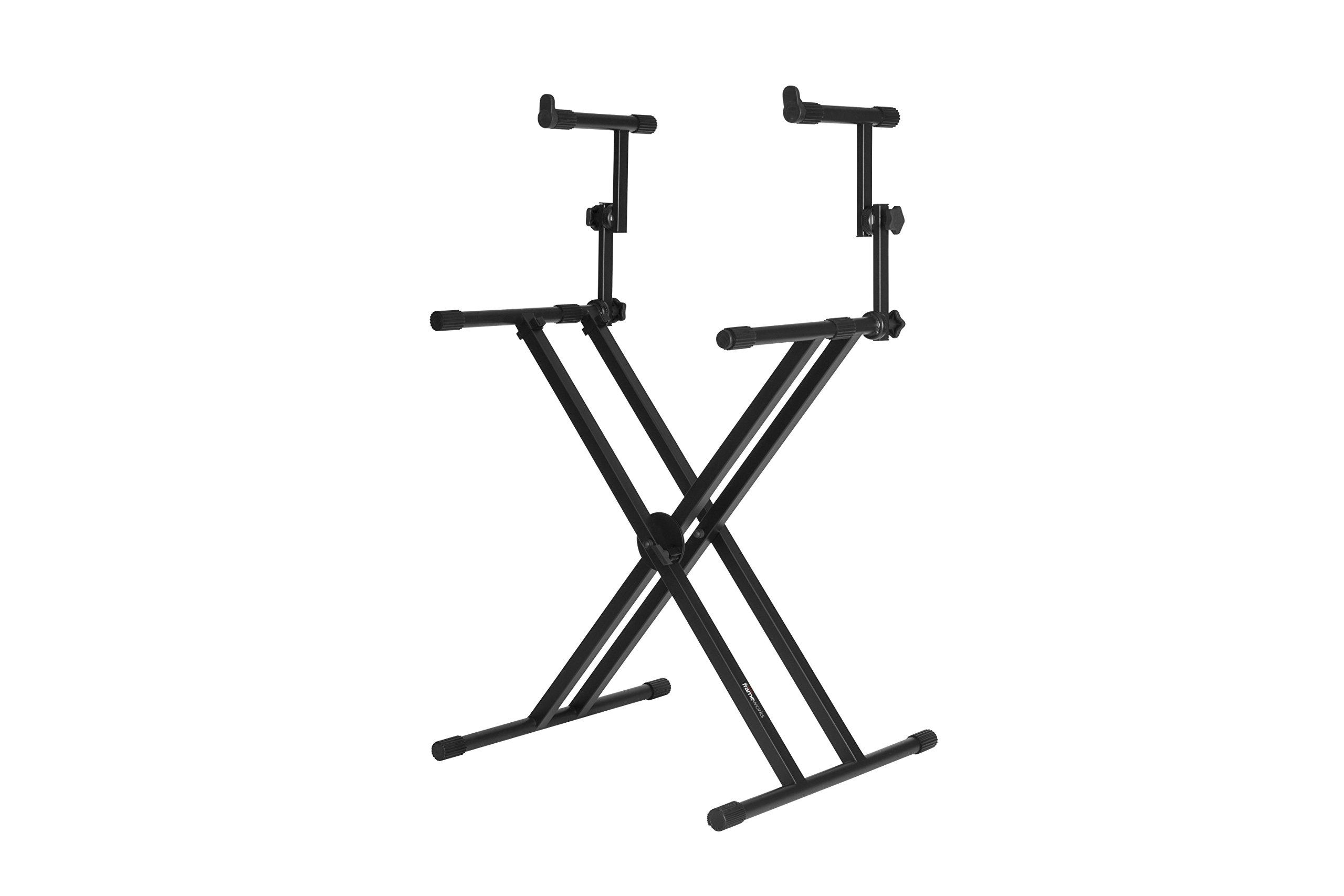 Gator Frameworks GFW-KEY-5100X Deluxe Two Tier X Style Keyboard Stand, Black