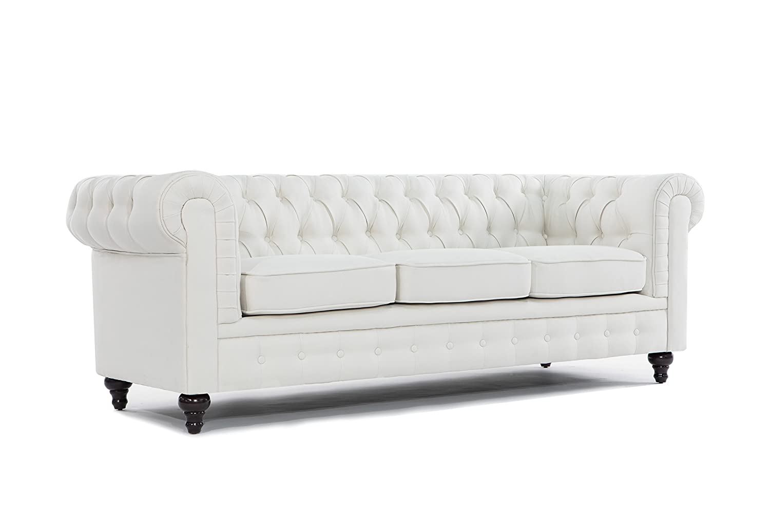 Amazon.com: BD Home Furnishings Classic Scroll Arm Button Tufted  Chesterfield Style Sofa   Ash Gray: Kitchen U0026 Dining