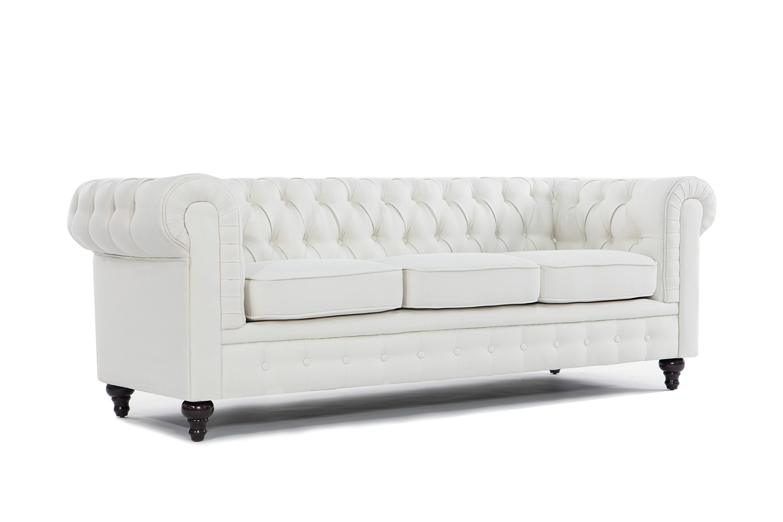 "BD Home Furnishings Classic Scroll Arm Button Tufted Chesterfield Style Sofa - Beige - Beautiful Classic Scroll Arm Sofa With Deep Button Tufted Accents Sophisticated but Casual Linen upholstery fits any traditional decor style, Dark Wood Bun Feet - Linen Upholstery, Dark wood legs that screw in to the base Dimensions: 90"" x 35"" x 31"" - Seat: 76"" x 21"" - Back rest: 13"" (inches) - sofas-couches, living-room-furniture, living-room - 71cXJCgeCCL -"