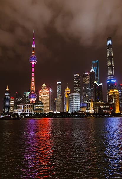 AOFOTO 4x6ft Photography Backdrop Artistic Background The Bund Urban Buildings Oriental Pearl Tower Nightscape China Travel