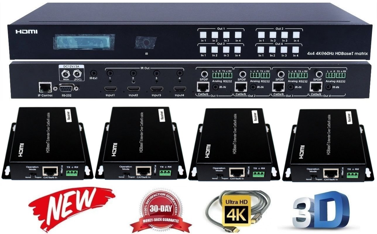4x4 HDbaseT 4K HDMI MATRIX SWITCHER w/ FOUR PoC RECEIVERS! HDCP2.2 HDTV ROUTING SELECTOR SPDIF AUDIO CRESTRON CONTROL4 SAVANT HOME AUTOMATION