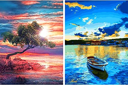 5D DIY Full Drill Square Round Diamond Painting Embroidery Set Sunset Tree Lonely Home Decor Mosaic Painting Cross Stitch Needlework