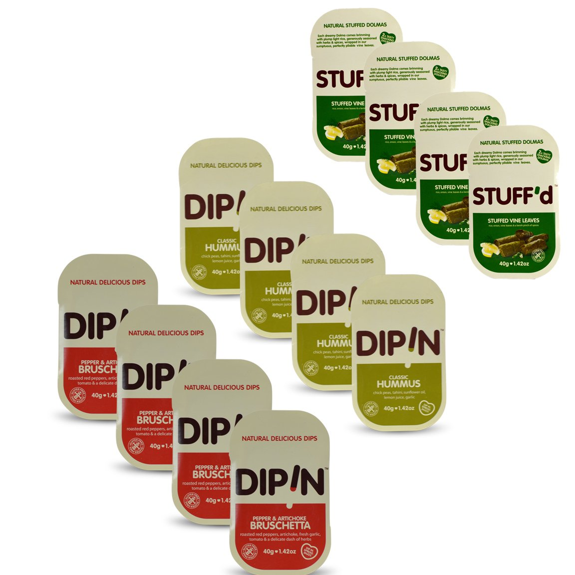 DipIn Natural Delicious Dips Variety Pack Gluten Free - Certified Kosher OU 1.42 oz - 12 pack