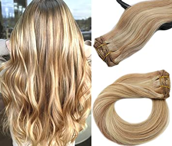 Clip in Human Hair Extensions 7 Pieces 70g Golden Brown with Blonde  Highlights Silky Straight Weft Long