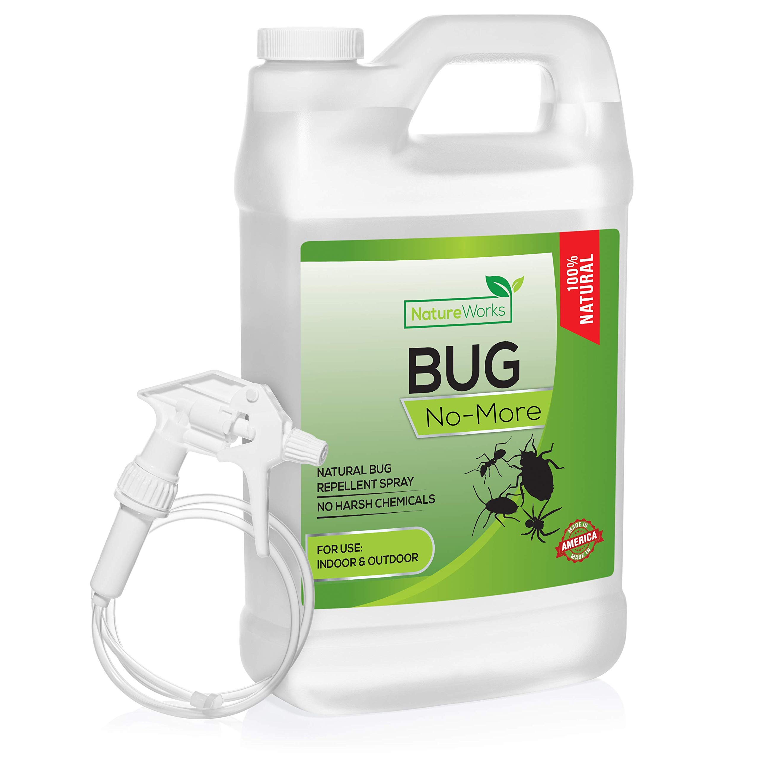 Bug- No-More | Natural Insect & Pest Control Spray | Ant Roach Termite Fly Mosquito Flea & Spider Killer | Organic Indoor Outdoor Pesticide I Home Patio Lawn & Garden Insecticide | Kid & Pet Safe 64oz by NatureWorks