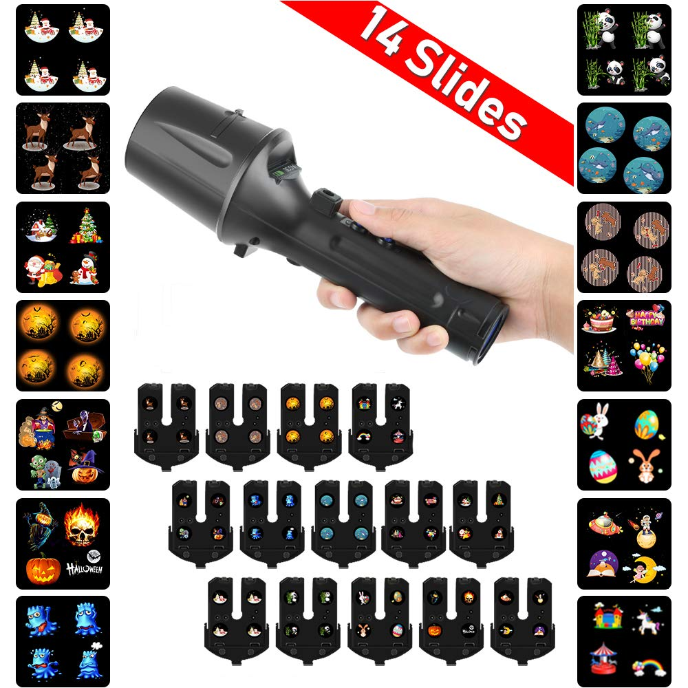Handheld Projector Lights,Sanwsmo LED Christmas Projector Lights, 2 in 1 Decoration Light & Handheld Flashlight for Ho Christmas, Hallowme Party, Birthday,EEN, Easter.