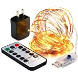 innotree LED String Lights, 33ft 100 LED USB Plug in Fairy Lights, 8 Modes Dimmable Copper Wire Lights with Remote Control for Bed Patio, Parties - Warm White
