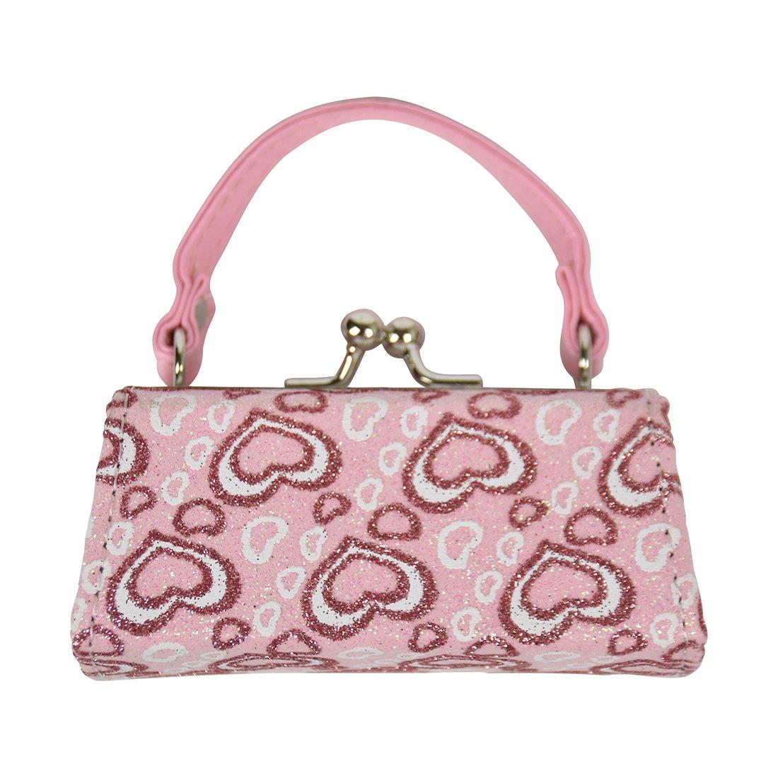 8633d012de9 Amazon.com : Glittery Hearts Lipstick Case with Handle Mini Purse - Light  Pink : Beauty