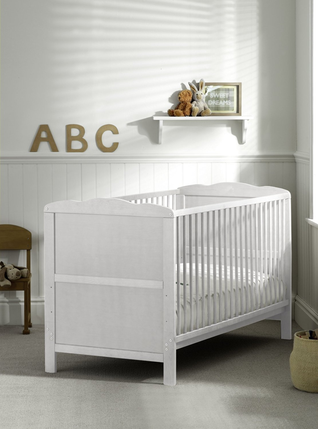 COT BED/JUNIOR BED LUXURY WHITE FINISH WITH FREE MATTRESS B4Beds©