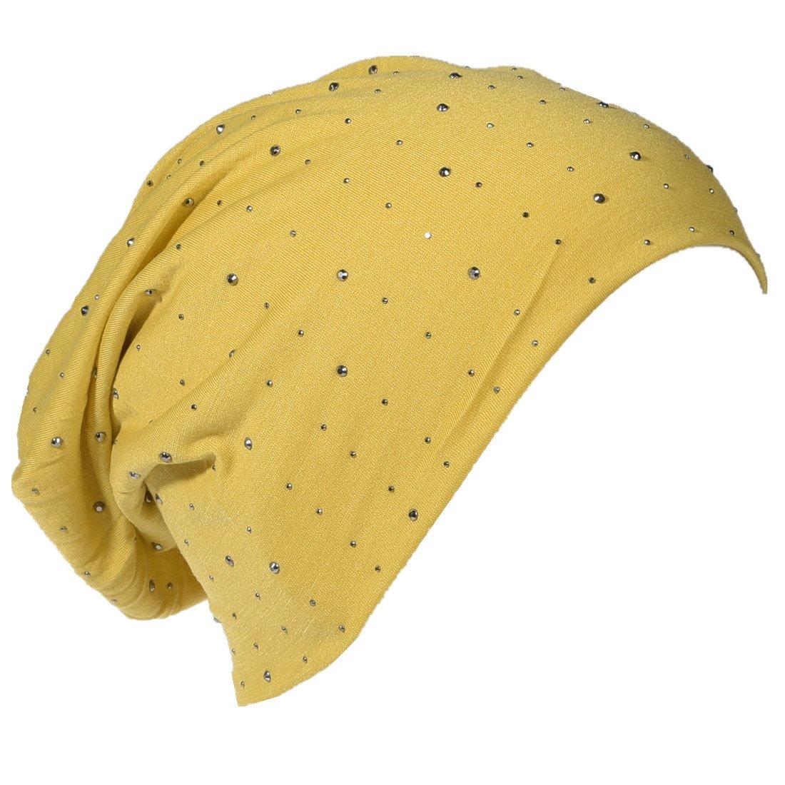 Miobo Jersey Slouch Bonnet long tendance avec strass /él/égants rivets unisexe couleur unie pour homme ou femme