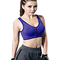 Women's Seamless Wirefree Zipper Front Racerback Sports Bra with Removable Paddings