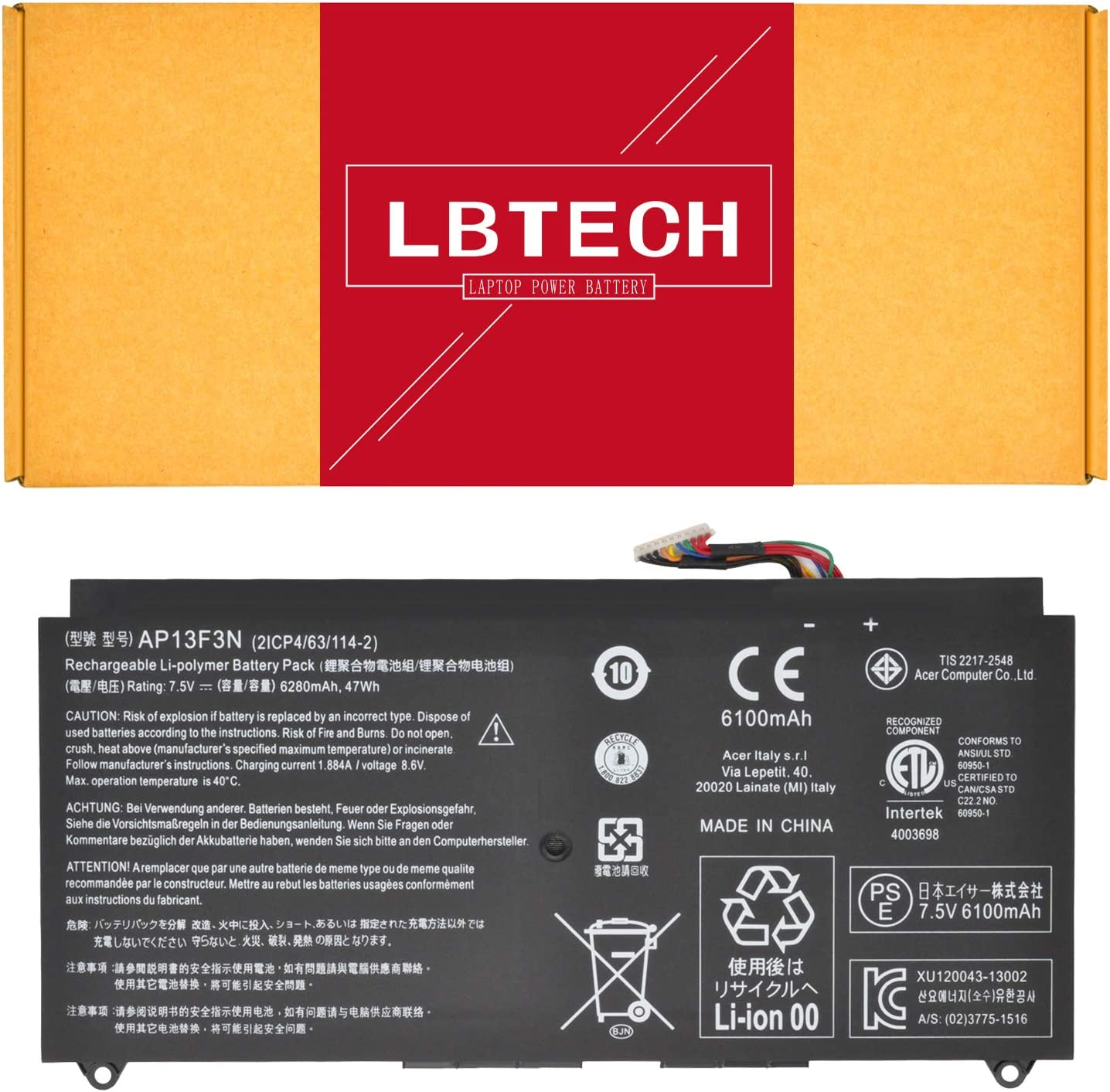 LBTECH 7.5V 47Wh 6280mAh AP13F3N Laptop Battery Replacement for Acer Aspire S7-391 S7-392 S7-392-54208g12tws S7-392-54208g25tws S7-393 Series Notebook