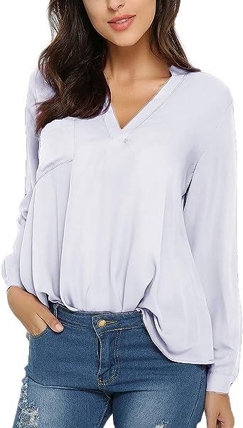 Style Dome Mujer Camiseta Camisa Blusa Mangas Largas Elegante Moda Oficina Casual Suelto con Tops Bolsillo Color Camisa Blanco-649686 S: Amazon.es: Ropa y accesorios
