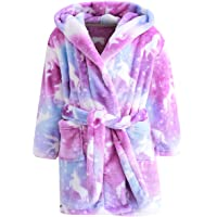 Ameyda Cosplay Costumes Girl's Soft Flannel Bathrobes, Hooded Soft Warm Sleepwear with Belt Unicorn Flannel Robe for Girl, Purple Galaxy Unicorn, 11-12 Years = Tag 170