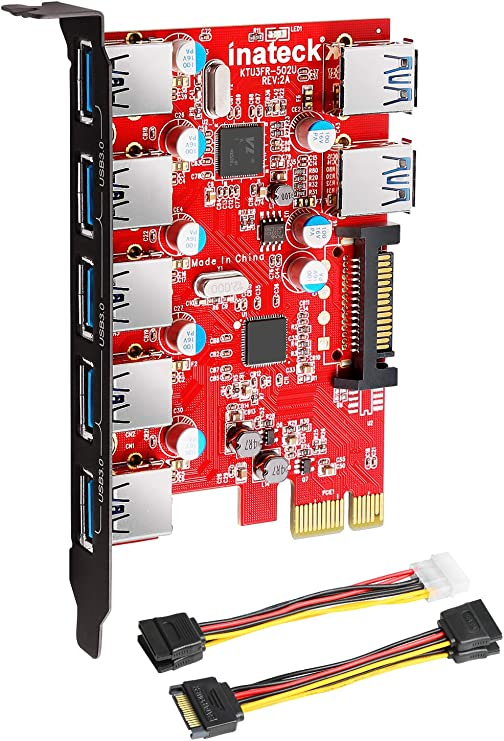 Inateck Superspeed 7 Ports PCI-E to USB 3.0 Expansion Card - 5 USB 3.0 Ports and 2 Rear USB 3.0 Ports Express Card Desktop with 15 Pin SATA Power ...