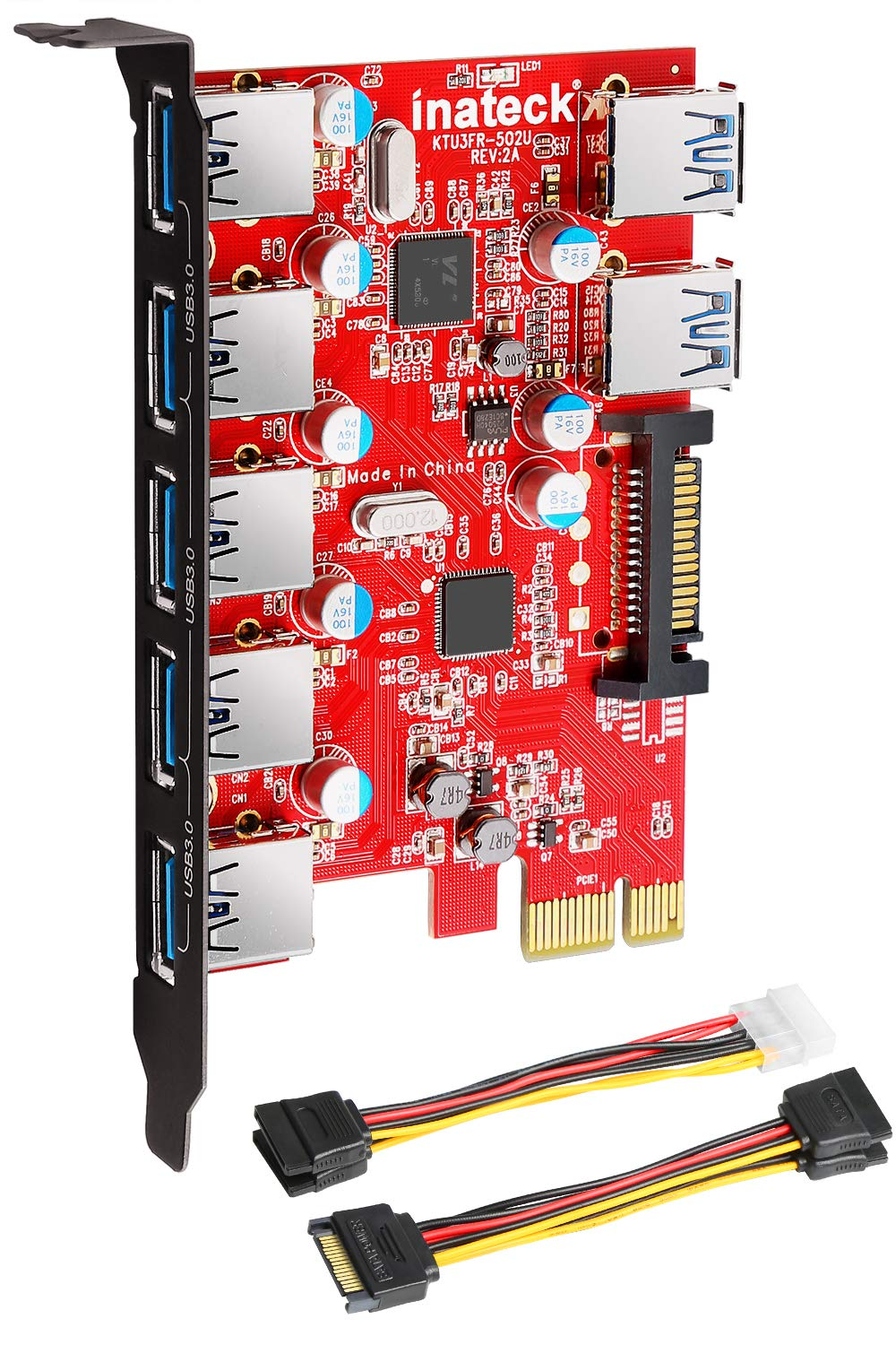 Inateck Superspeed 7 Ports PCI-E to USB 3.0 Expansion Card - 5 USB 3.0 Ports and 2 Rear USB 3.0 Ports Express Card Desktop with 15 Pin SATA Power Connector, Including Two Power Cables (KT5002) by Inateck
