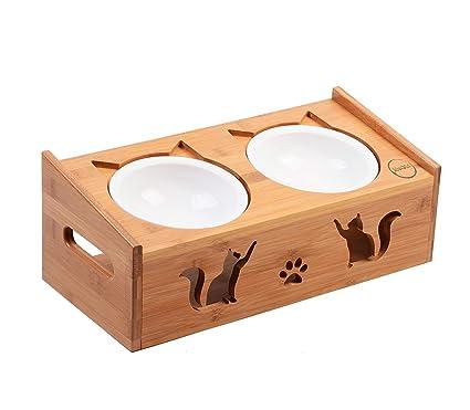 DIVADIS Comedero de Alimentación para Gato | Elevado de Bambú Moderno y de Calidad | Cuencos