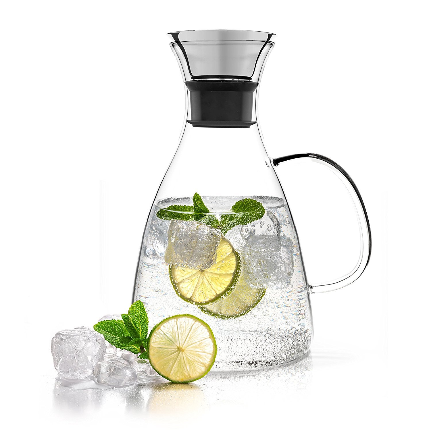ONEISALL GYBL436 Glass Carafe with Stainless Steel Flip-top Lid and Handle, Hot and Cold Glass Water Pitcher, Tea/Coffee Maker & Cafe, Iced Tea, Beverage Pitcher for Decanting and Serving Wine, 1500ML by oneisall