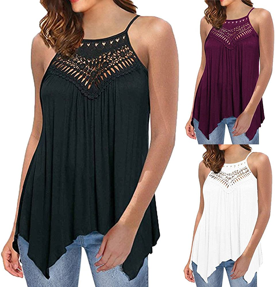 ZEFOTIM Casual Tops Lace for Womens Off Shoulder Sleeveless Loose Blouse Shirts