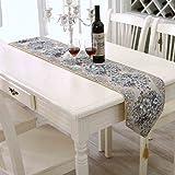 Haosen Runner per tavolo lusso moda tabella bandiera classico tavolino - Stile classico europeo, tessuto di tela,28x210cm (Blu)