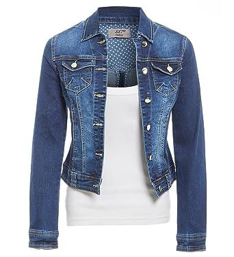 SS7 Frauen Größe 42-48 Stretch Jeansjacke Damen Jean Jacken Mittleres Blau   Amazon.de  Bekleidung 7c93f75c1f