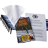 "Maple Tree Tapping Kit – Includes 5/16"" Tree Saver Taps Spiles + 3-Foot Drop Line Tubes (Pack of 10), 1 Quart Sap Filter, and 80 Page Fully Illustrated Guide to Maple Tapping Book"