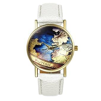 Lancardo Reloj Analógico con Correa de Cuero Dial Decorado con el Mapa Mundial Colorido Pulsera Electrónica