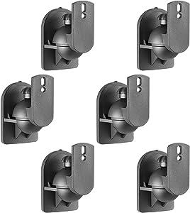 WALI Speaker Wall Mount Brackets Multiple Adjustments for Bookshelf, Surround Sound Speakers, Hold up to 7.7 lbs, (SWM602), 6 Packs, Black