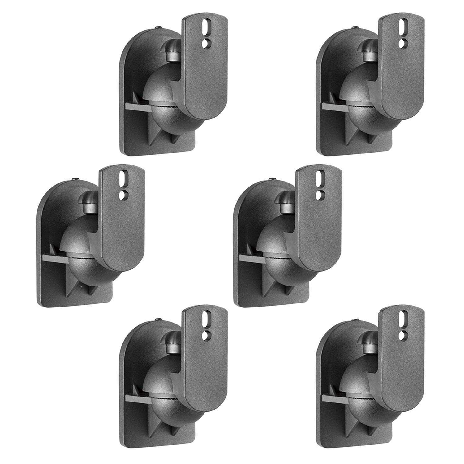 WALI Speaker Wall Mount Brackets Multiple Adjustments for Bookshelf, Surrounding Sound Speakers, Hold up to 7.7 lbs, (SWM602), 6 Packs, Black by WALI