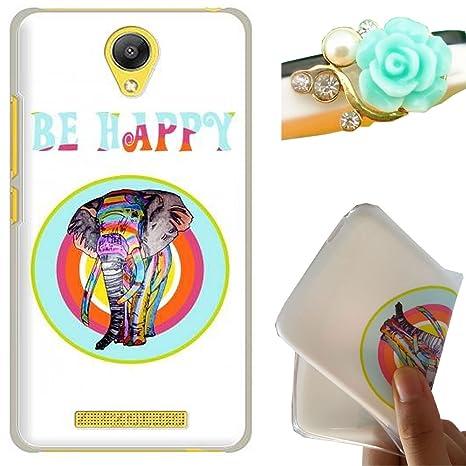 Rockconcept Xiaomi Redmi Note 2 Funda, Serie del Elefante Diseño [Con Gratis Tapón de Polvo] Protectiva Carcasa de Silicona Gel TPU Funda Cover ...
