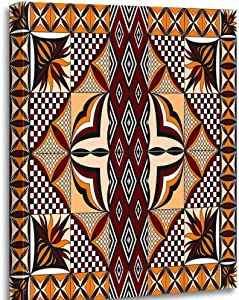 Altuny Canvas Print Wall Art Painting Pictures Samoan Siapo Quilt Symmetrical 12x16 Inch Artwork Modern Decor for Living Room Bedroom Bathroom Great Gift