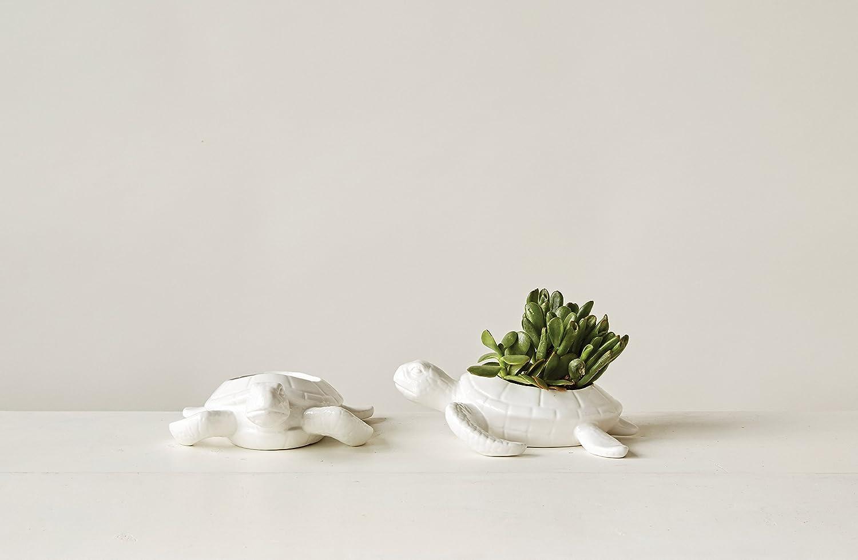 Creative Co-Op White Turtle Shaped Ceramic Bowl DA7790