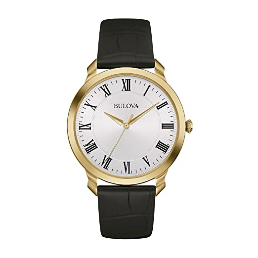 55c076839b30 Bulova Classic 97A123 - Reloj de Pulsera de diseño Elegante para Hombre -  Correa de Cuero - Esfera Blanca - Dorado  Amazon.es  Relojes