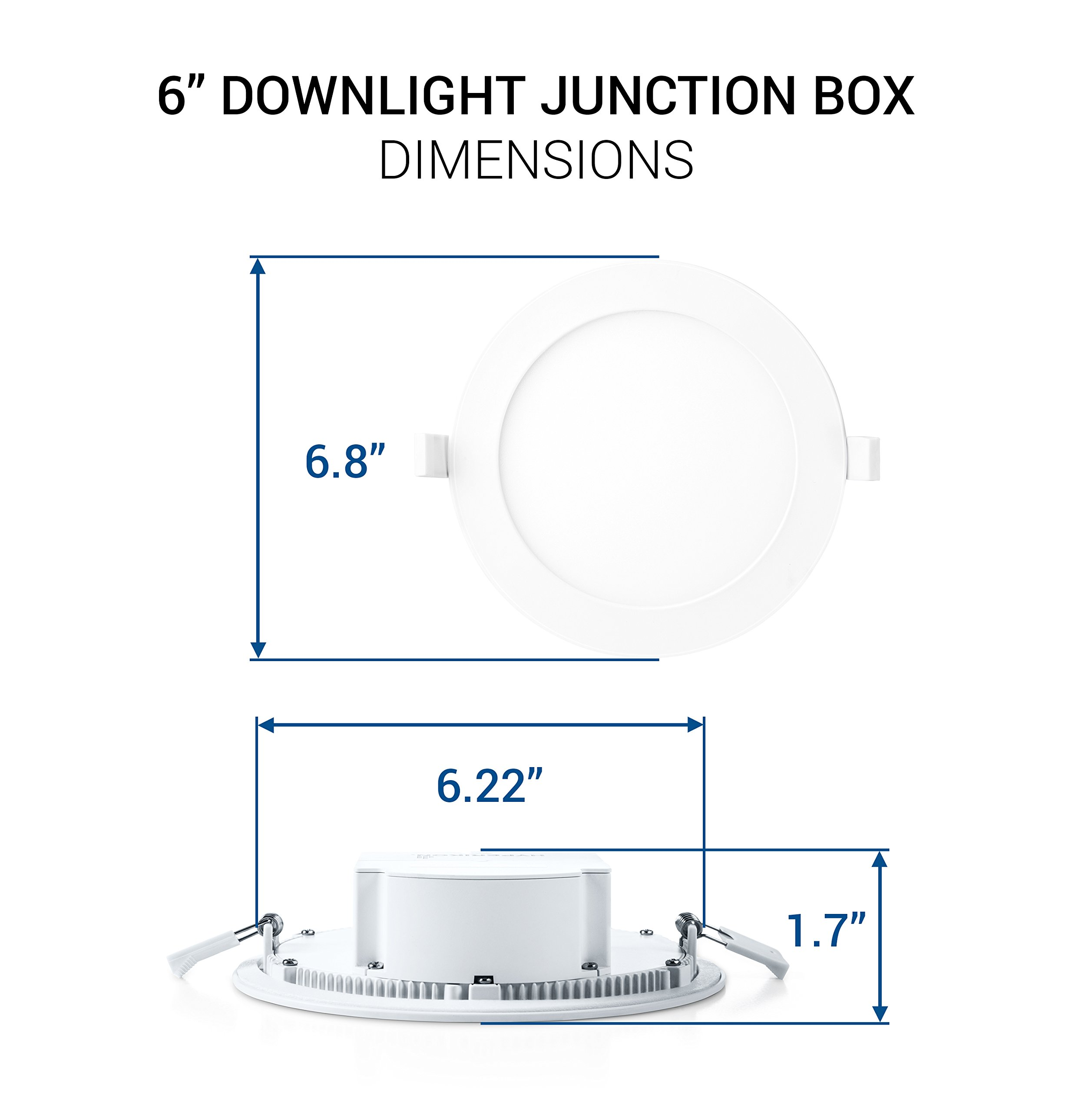 Hyperikon 6'' Recessed LED Downlight with Junction Box, Dimmable, 11.6W (65W Equivalent), Slim Retrofit Airtight Downlight, 4000K (Daylight Glow), Energy Star, UL - for Dry/Damp Locations (6 Pack) by Hyperikon (Image #7)