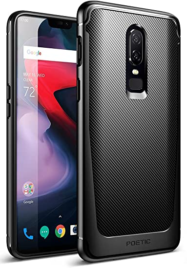 official photos 317e0 220dc OnePlus 6 Case, Poetic Karbon Shield [Revised Version][Shock Absorbing]  Slim Fit TPU Case with [Carbon Fiber Texture] for OnePlus 6 Black