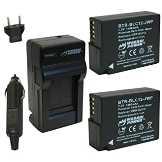 Wasabi Power Battery (2-Pack) and Charger for Panasonic DMW-BLC12 and Leica BP-DC12, BP-DC12-U, 18729, Leica V-Lux 4, V-Lux (Typ 114), Leica Q