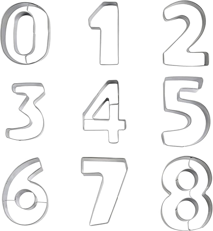Ausstechformen Zahlen Set 0,1,2,3,4 Ausstecher Kekse Plätzchen Backförmchen