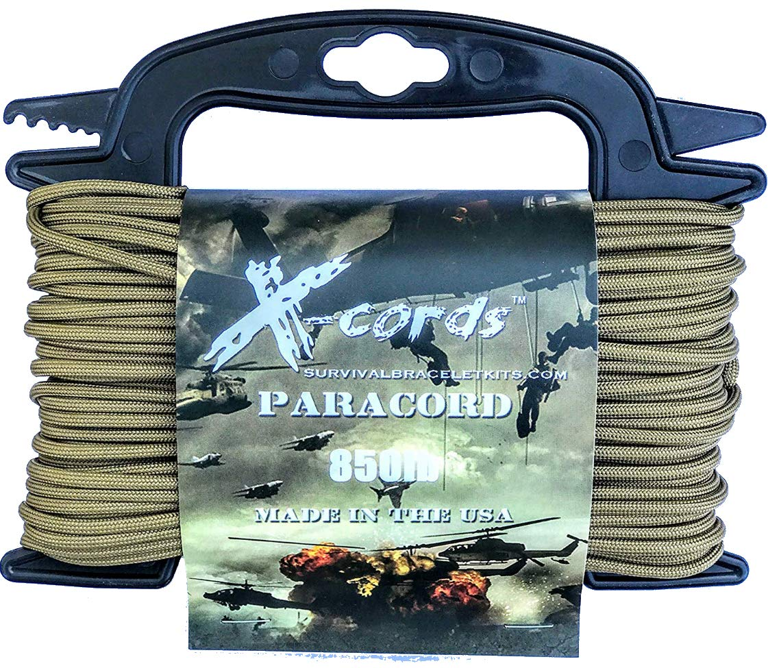 X-CORDS Paracord 850 Lb Stronger Than 550 and 750 Made by Us Government Certified Contractor (100' Coyote Brown ON Spool 850LB)