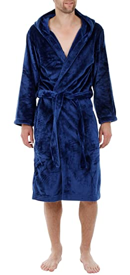 Men\'s Hooded Velour Fleece Robe by John Christian - Blue (XXL) at ...