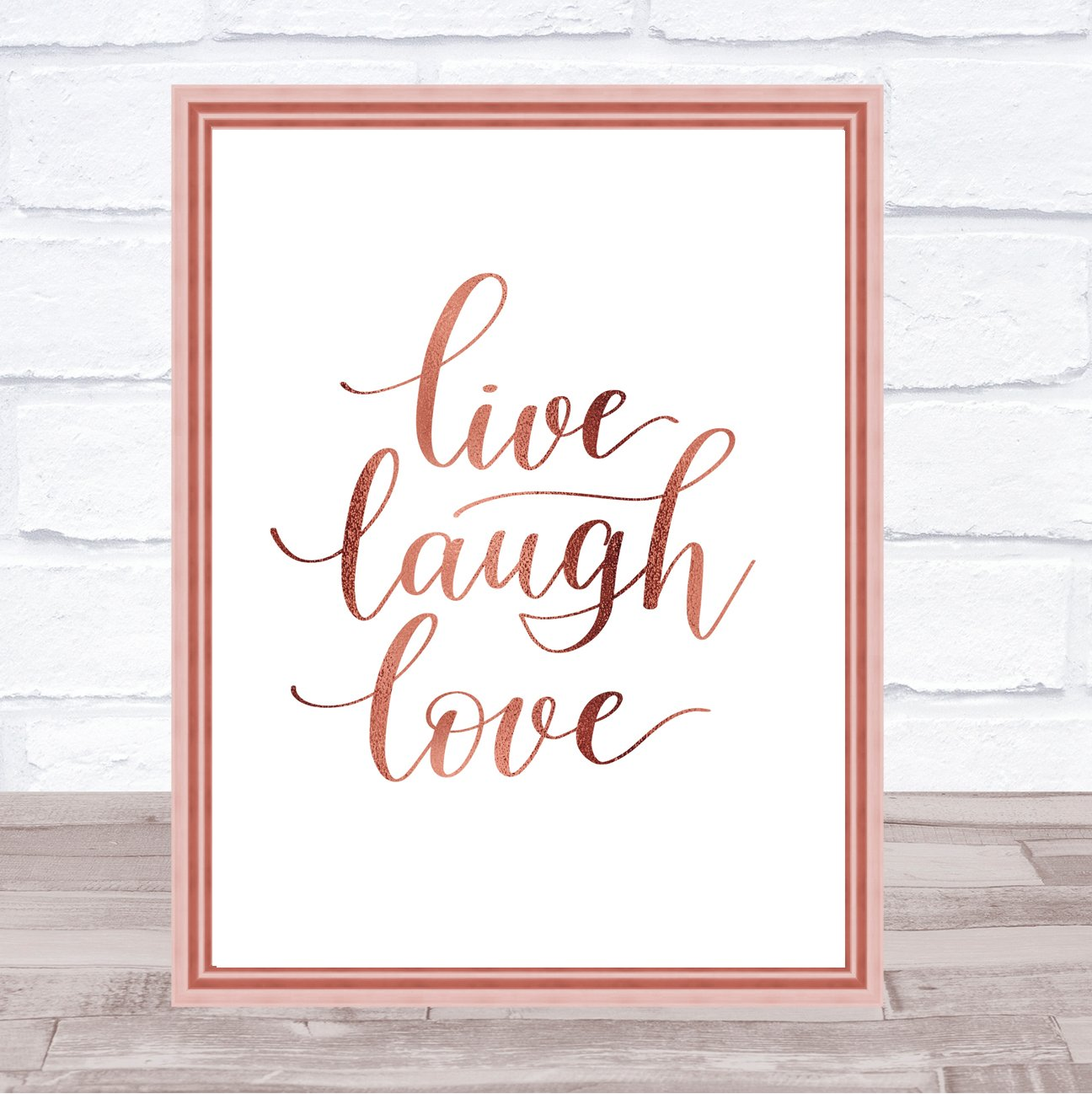 Live laugh love quote print poster rose gold wall art